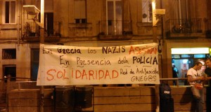 150 people gathered in Barcelona to protest the killing of a Greek antifascist
